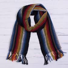 dark rainbow 100 alpaca striped scarf from peru dark andean rainbow
