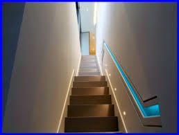 led stairwell lighting. basement stairs lighting ideas with blue led stairwell