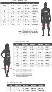 Cosplay Costume Size Chart Measurement