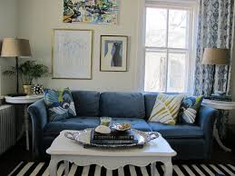 blue living rooms interior design. Living Room:Small Room Decoration With Navy Blue Sofa And Striped Rug Plus White Rooms Interior Design