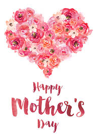 Happy Mother's Day banner with heart and flowers