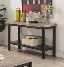 furniture of america cm4861s calgary dark walnut finish wood marble top sofa console entry table
