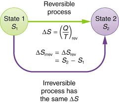 the diagram shows a schematic representation of a system that goes from state one with entropy