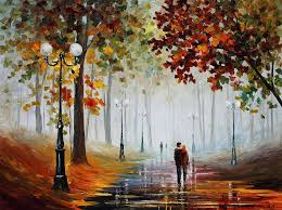 leonid afremov painting foggy morning palette knife contemporary landscape oil painting on canvas by
