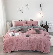 white grey pink fleece fabric duvet cover pillowcase bed sheet cartoon boy girls bedding sets 3 single double bedlinen white duvet super king bedding from