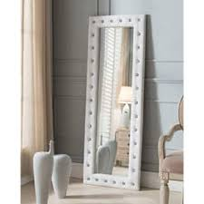 silver floor mirror. Silver Orchid Heston Tufted Leather Floor Mirror
