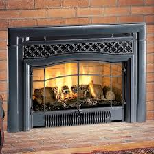 gas fireplace insert with fire glass brick surround and hearth tile steel door handle