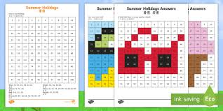 Chinese Number Chart Summer Holidays Colour By Number 100s Chart Worksheet