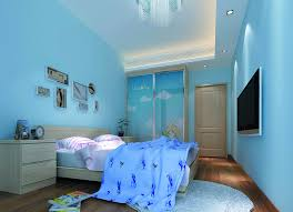Simple blue bedroom with TV Interior Design