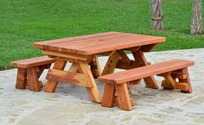 kid s rectangular wood picnic table with detached benches