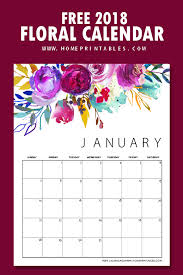 calendar 2018 free printable free printable calendar 2018 in beautiful florals home printables
