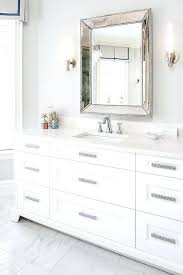 Restoration Hardware Drawer Pulls Glam White Bathroom Features A Sink  Vanity Adorned With Sparkly T11