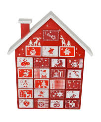 red and white house advent calendar