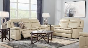beige leather sofa. Milano Living Room Set Beige Leather Couch With Brown Coffee And End Tables Blue Curtains. Sofa