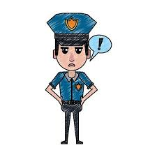 Graphic Design Office Interesting Police Officer Drawing Attention Cartoon Vector Illustration