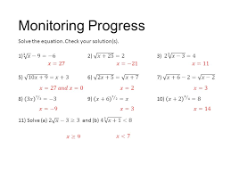 monitoring progress solve the equation check your solution s