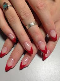 French Tip Stiletto Nail Designs Red Tip Stiletto Nails Jelly Nails Almond Nails Red Nails