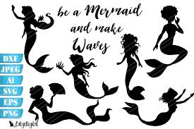Mermaid Silhouettes Graphic By Catgodigital Creative Fabrica In 2020 Mermaid Silhouette Silhouette Svg Mermaid