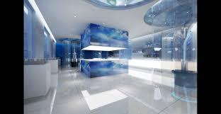 brilliant blue glass top modern office