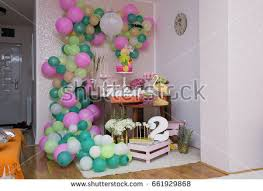 dessert table cakes balloons decorated birthday stock photo