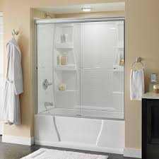 semi frameless sliding bathtub door in nickel with clear glass 2435517 the home depot