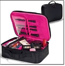 essential makeup organizer double zipper closure and carry handle case with