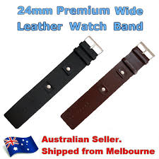 details about brown black leather watch strap cuff bracelet band for 24mm wrist band watch