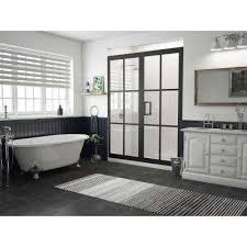 framed hinged shower door and inline panel