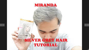 TUTORIAL SILVER GREY HAIR COLOUR with MIRANDA HANYA 8rb an!! - YouTube