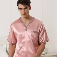 plus size silk robe summer mens silk pajamas short sleeved v neck pyjamas twinset with
