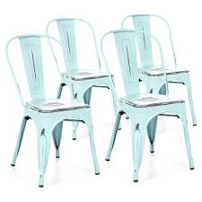 best choice s set of 4 stacking metal distressed industrial style dining chairs blue