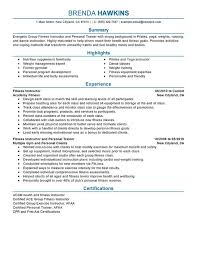 Ideas Collection Sample Resume For Gym Instructor For Description