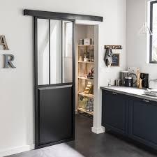 ... Porte Coulissante Médium (mdf) Revêtu Aluminium Atelier Verre Clair  ARTENS, ...