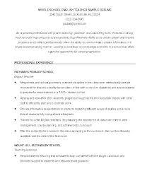 Cv Primary School Teacher Cv Format For Teacher Job Template For Teaching Position 7 For