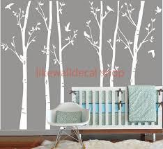 Vinyl Wall Decals white tree decal nursery six birth trees birds leaf bird  trees home house