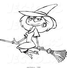 Vector of a Cartoon Beautiful Witch Sitting on Her Broomstick ...