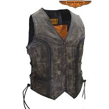 womens longer cut distressed brown leather motorcycle vest zoom