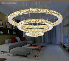 rings led chandeliers creative round restaurant modern crystal