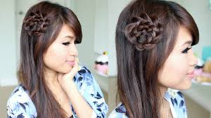 Flower Hair Style rosette flower braid hairstyle for medium long hair tutorial youtube 2530 by wearticles.com