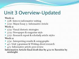 unit overview week intro to informative writing  unit 3 overview updated week 10 3 18 intro to informative writing 3
