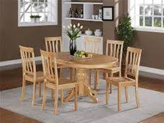 east west furniture avon 7 piece pedestal oval dining table set with antique wooden seat chairs oak finish