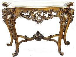 small french style antique console table with wooden base and carving table legs painted with gold color plus white marble top ideas
