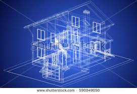 the blueprint of architectural design halftimbered residential house with the terrace vector41 blueprint