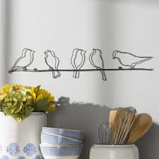rioux birds on a wire wall d cor on natural life wire wall art with wall decor birch lane