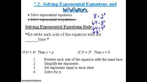 algebra 2 7 2 notes example 1a b solving an exponential equation