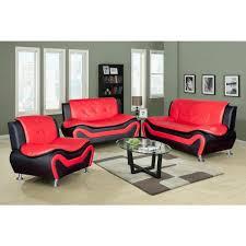 black leather three piece sofa set