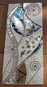 wip abstract silver mosaic tile art