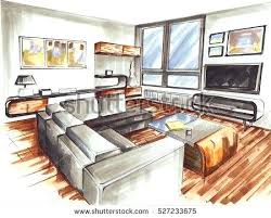 Interior Design Bedroom Sketches Living Room It Is Very Modern Interior  Design For Younger Its Sketch