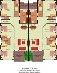 mesmerizing three bedroom semi detached house plan gallery plans feet court homes bed detache uk in ghana floor nigeria