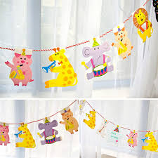 handmade colorful cute animal paper flags bunting pennant baby